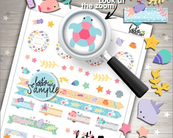 60%OFF - Sea Stickers, Printable Planner Stickers, Under the Sea Stickers, Kawaii Stickers, Planner Accessories, Weekly Stickers, Set