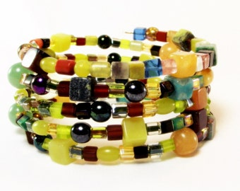 Bracelet - Colorful Earthtone Mix Beaded Memory Wire Bracelet