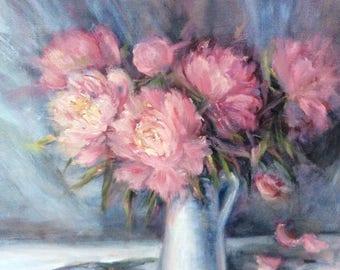 """Peonies Painting Peonies  Floral Original Art 16 x 20"""""""