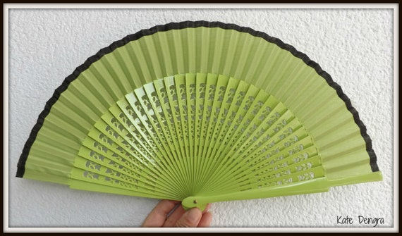 Pistachio Green and Black Fret Wooden Handheld Spanish Hand Held Folding Fan From Spain