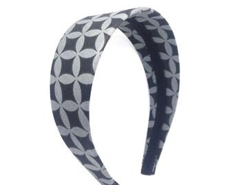 Wide Headband - Black and Gray Geometric Circles and Diamonds - Big GIrl Headband, Adult Headband Woman - Women's Headband - 2 inch Headband