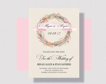 SAVE THE DATE Cards Blush Autumn Wreath | Shabby Chic Save the Date Card | Romantic Save the Date Cards | Rustic Save the Date Card Blush