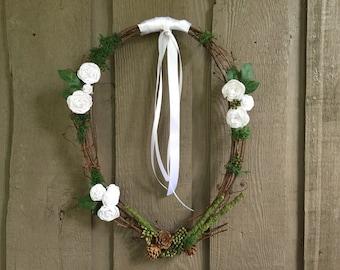 Wedding wreath/ wreath/ woodland wreath/ rustic wreath/ rustic home decor/ grapevine wreath/Wedding decor/woodland decor/ wreath for wedding