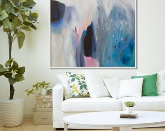 """GICLEE print, blue abstract painting with pink and white. Modern painting """"Roses are Pink"""""""