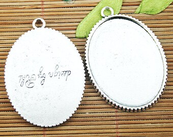 5pcs Tibetan silver lettering oval cameo cabochon settings EF1216