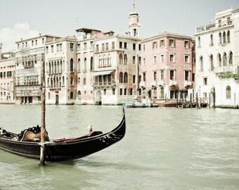Venice Photography, Pink Black Wall Art, Venice Italy Art Print, Black Boat Photograph, Pastel Living Room Decor - Bella Venezia