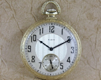 Vintage Elgin Pocket Watch - circa 1922 - 15 Jewel - 12 Size - Deco Style Case - Gold Filled - Mechanical Wind