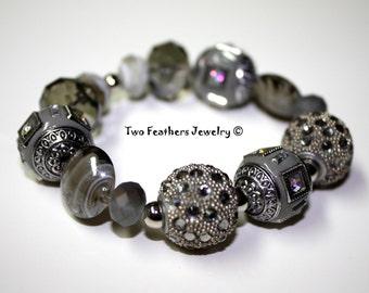 Gray Bracelet - Grey Bracelet - Beaded Bracelet - Glass Bracelet - Rhinestone Bracelet - Gift For Her - Gray And Silver - Stretch Bracelet