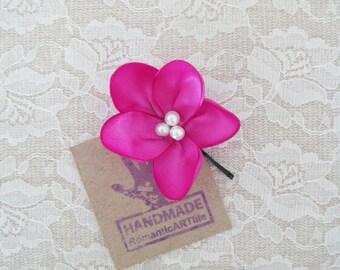 Magenta Flower Hair Pin. Magenta Pink Flower Hair Piece. Bridesmaid Hair Accessory.