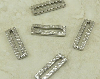 5 TierraCast Hammertone Rectangle Links > Industrial Steampunk Hammered - Rhodium Plated Lead Free Pewter - I ship Internationally 3097