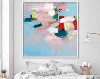 Large wall art Canvas art GICLEE print from abstract painting,  Light Blue, Beige beautiful art by Duealberi