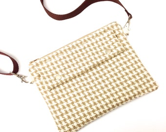 Travel Bag, Hip Pouch, Fanny Pack, Houndstooth in Natural