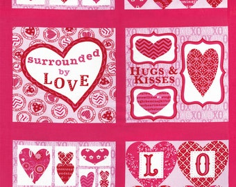 Pink Valentines Day Fabric Panel, Deb Strain 19650 Pink, Surrounded by Love, Moda, Heart Fabric Panel, Quilt Fabric Panel, Cotton
