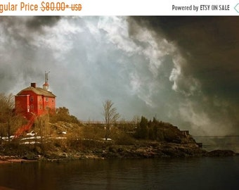 25% Memorial Day Sale Storm photograph, lighthouse, home decor, Gallery Wrap Fine Art Photograph