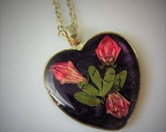 Romance of Flowers Pendant , Pressed Flower Pendant,  Real Flower Necklace,  Resin (2076)