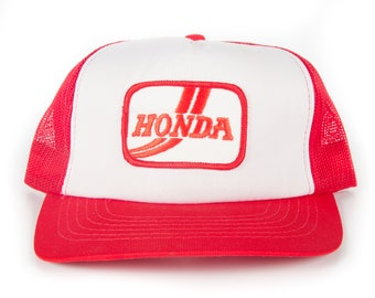 Vintage Honda Trucker Cap / Automotive Motorcycle Red and White Mens Baseball Trucker Hat Cap / Trucker Cap / Baseball Cap / Baseball Hat