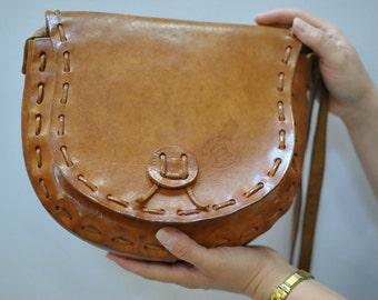 Vintage IL CALIFORNIANO handmade leather bag...(078)