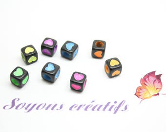 50 acrylic beads cubes heart black multicolored 6mm - SC0080525