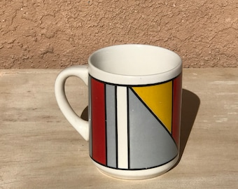 Mid century MODERN bright color block COFFEE CUP mug 50s 60s vintage