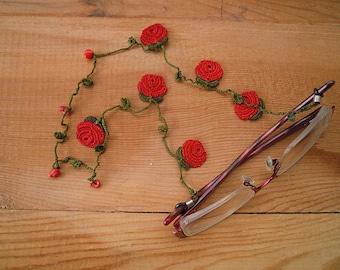 eyeglass chain, red rose, crochet
