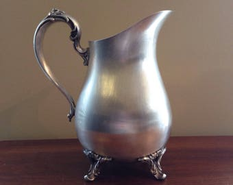 William Rogers Pitcher with Ice Lip - Silver Plated - Floral Detail on Handle and Feet - Vintage Kitchen Collectible Pitcher
