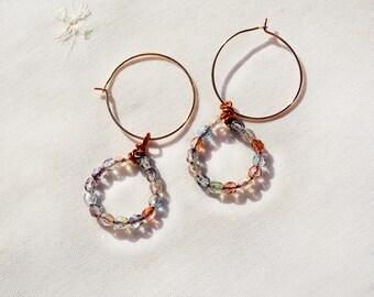 Cerceau long boucles d'oreilles perles Boucles d'oreilles créoles avec verre coloré à facettes perles bijoux faits main cadeau pour sa livraison gratuite d'Israël