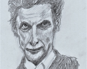 Dr Who. Peter Capaldi and  Jodie Whittaker. Set of two original artwork prints.