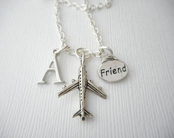 Airplane, Friend- Initial Necklace/ Long distance, miles away, Gift Ideas, Birthday Gift, bff jewelry, Personalized Friend, gift for bff