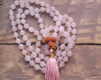 Rose Quartz Mala  / Love Mala / Mala Beads 108 / Hand Knotted Necklace / Gemstone Necklace / Gemstone Bracelet