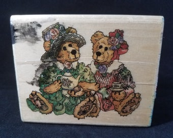 Boyds Bears Afternoon Tea Rubber Stamp Used  View All Photos