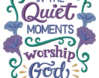 In the Quiet Moments, Worship God Embroidered on Made-to-Order Pillow Cover