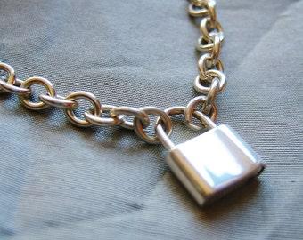 BDSM Padlock Collar, Silver Padlock Collar, Classic BDSM, Silver Day Collar, Padlock Choker, Sterling Padlock, Submissive Collar
