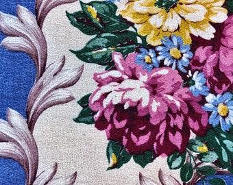 Cerulean Blue 1930's Summer at the Seashore Vintage Barkcloth Fabric SWAGADELIC Roses Unused Nana's Bungalow Retro Shabby Chic Cottage