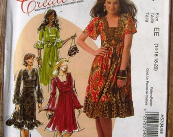 Misses Dresses with Bodice and Sleeve Variations Sizes 14 16 18 20 McCalls Pattern M5704 UNCUT