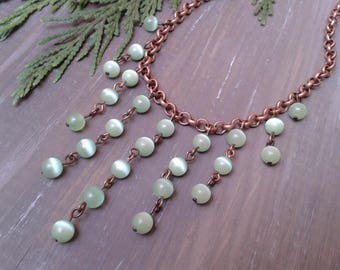 Copper necklace, cascade choker necklace, copper and pearl necklace, green pearl necklace, woman gift, gift for her