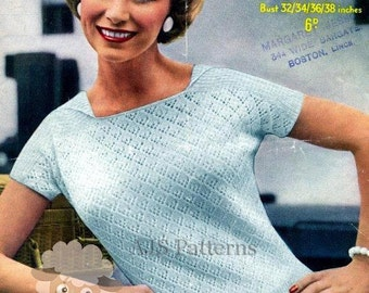 PDF Knitting Pattern for a 1950's Lacy Summer Top - Chic and Feminine - Instant Download