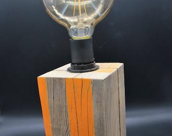 Lamp in wood cube / orange Decor / gift idea