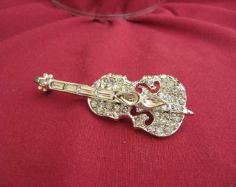 Rhinestone Bass Fidel Pin,  Vintage Paved Cello Brooch, Silver Tone With Paved Rhinestone Brooch, Musical Instrument Jewelry,