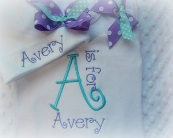 Personalized Baby Girl  one piece and Hat Set, Monogram, with coordinating shoulder bows, purple, turquoise