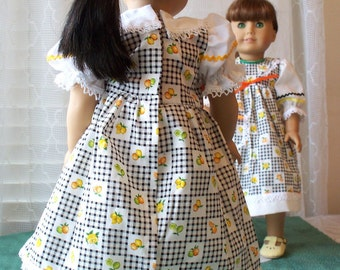 Handmade Doll Dress fits 18 inch doll, Fruit Celebration Doll Dress in Traditional, Modest style