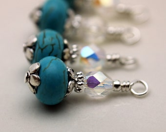 Vintage Style Turquoise with Clear AB Czech Crystal and Silver Bead Dangle Charm Drop Set