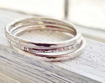 Silver Stackable Ring Set - Sterling Silver Stackable Rings - Ring Set Gift for Women, Textured Ring Set
