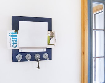 MAIL KEY ORGANIZER: Modern Wall Mount Wood and Metal Mail and Key Holder for Cottage, Home or Office.  Key Rack with Mail Slot for Entry