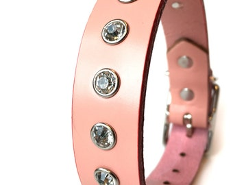 Pale Pink Leather Dog Collar With Rhinestones, Size S to fit a 11-14in Neck, Small Dog Collar, EcoFriendly Leather, Glam Girl Feminine, OOAK