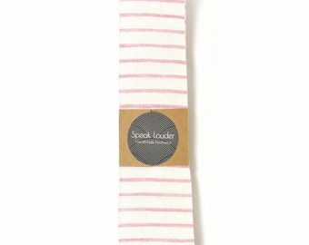 Wedding Mens Tie Skinny Necktie Laid-Back necktie- pink white stripe linen