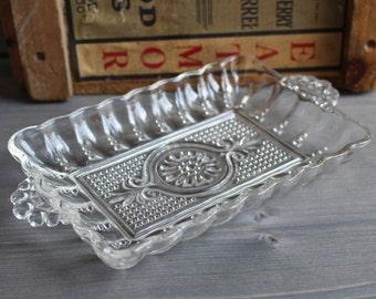 Vintage rectangle candy jar glass - Vintage candy bowl - Vintage glass decorative pot - Orange Rétro