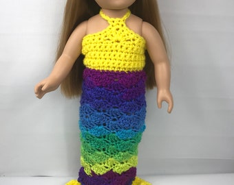 """Tenue poupée sirène, 18"""" vêtements de poupée, costume de poupée jaune, couronne de poupée, costume de poupée arc en ciel"""