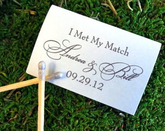 I Met My Match Custom Matchbox Favors - Set of 75, Personalized Wedding Favor, Custom Printed Wedding Matches, Bar Matches, Custom Matchbook