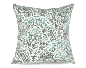 Moroccan Pillow, Aqua Decorative  Pillows, Grey Green Pillows, Mosaic Pillows, Graphic Cushions, Green Blue Cream, Pillow Throw Decor, 20x20