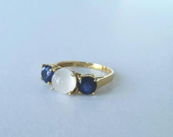 14k moonstone and sapphire ring